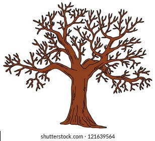 Tree without leaves - vector illustration.