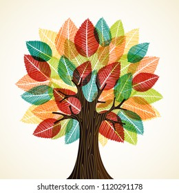 Tree with wood texture and autumn color leaves. Concept illustration for environment care or nature help project. EPS10 vector.