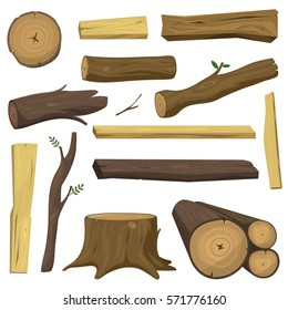 Tree wood trunk vector set chopped firewood logs and wooden stump in forest isolated illustration.