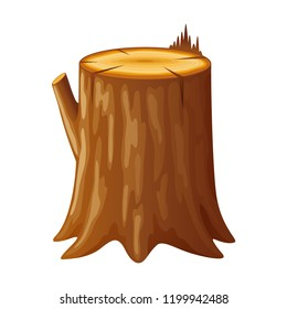 Tree, wooden stump with rings and roots. Cut trees, isolated on white background. Vector illustration in flat style.
