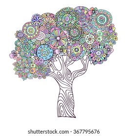 Tree. Zentangle pattern for coloring book. Colored