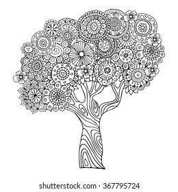 Tree. Zentangle pattern for coloring book