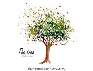 Tree.Hand drawn watercolor painting on white background.Vector illustration