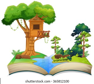 Treehouse by the river on a book illustration