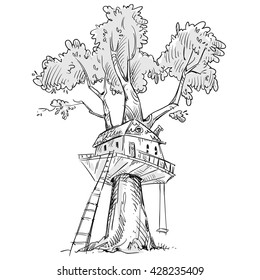 Treehouse. Hand drawn, vector illustration.