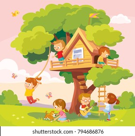 Tree-house with kids