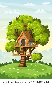 Treehouse on a meadow in summer, vector illustration