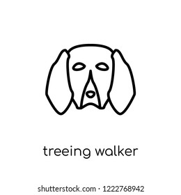 Treeing Walker Coonhound dog icon. Trendy modern flat linear vector Treeing Walker Coonhound dog icon on white background from thin line dogs collection, editable outline stroke vector illustration