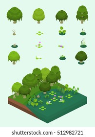 Trees and aquatic plants set for video game-type isometric swamp and river bank scene.