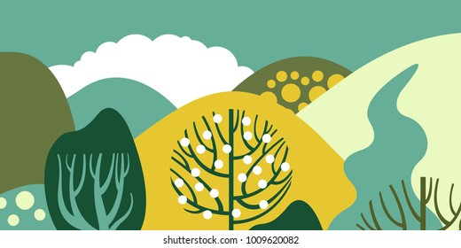 Trees broadleaf in a flat style. Spring forest with hills. Preservation of the environment, forests. Park, outdoor. Vector illustration.