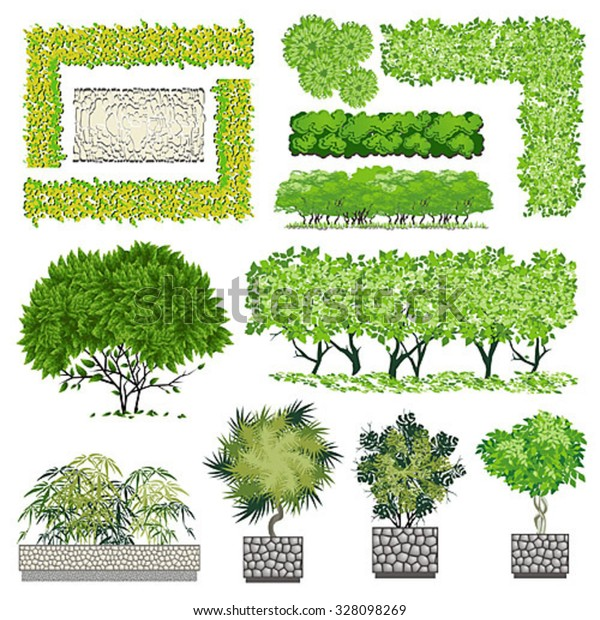 Trees Bush Item Landscape Design Stock Vector Royalty Free 328098269