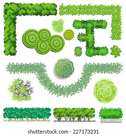 Trees and bush item top view for landscape design, vector icon
