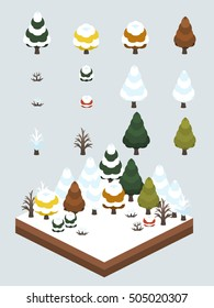 Trees and bushes for isometric first snow scene, depicting the end of fall and first snow of winter.