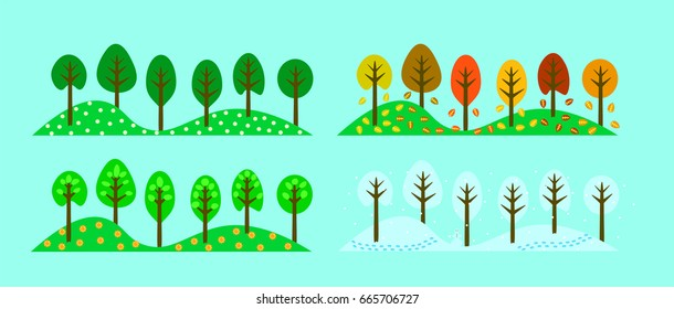 Trees in the change of four seasons.