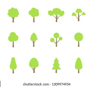 Trees collection. Icons of green plants, forest. Trees illustrations. Tree set. Vector illustrations