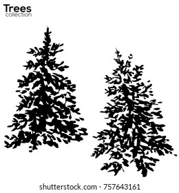 Trees collection. Ink Fir silhouettes