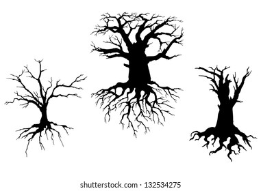 Trees with dead branches and roots isolated on white background. Vector illustration for ecology concept design. Jpeg (bitmap) version also available in gallery