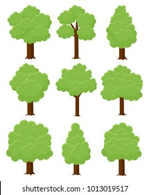 Trees Different Cartoon Shapes Set. Landscape elements for decoration, mobile game or app