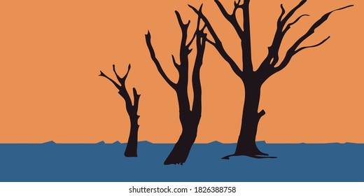 Trees dry landscape background.abstract dry forest