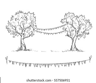 Trees with flags, vector illustration
