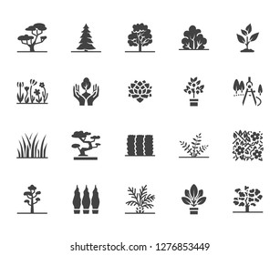 Trees flat glyph icons set. Plants, landscape design, fir tree, succulent, privacy shrub, lawn grass, flowers vector illustrations. Signs for garden store. Solid silhouette pixel perfect 64x64.