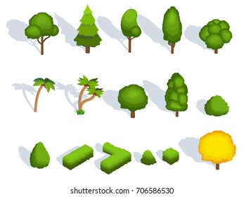 Trees flat icons with shadows. Isolated set of deciduous, coniferous and exotic tropical palm, pine or fir tree and oak or maple, green bush hedge and forest horticulture elements. Vector illustration