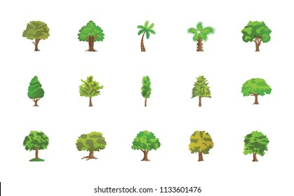 Trees Flat Vector Icons Pack