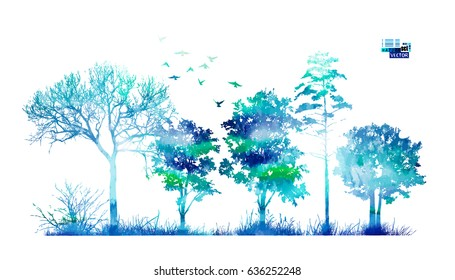 Trees in the forest. Blue picturesque landscape. Vector.