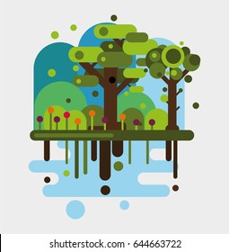 Trees in the forest. Nature concept. Flat vector illustration