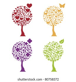 Trees with four elements: heart, butterfly, flower, leaf