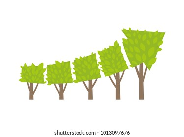 Trees growing like invest arrow. Market growth and success as growing green tree in shape of arrow.