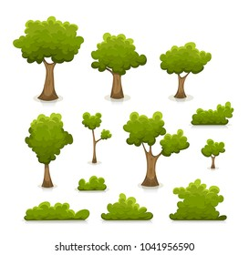 Trees, Hedges And Bush Set/ Illustration of a set of cartoon spring or summer green forest trees and other plants and elements like foliage, bush and hedges