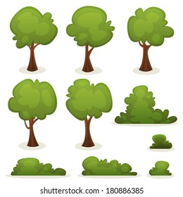 Trees, Hedges And Bush Set/ Illustration of a set of cartoon spring or summer trees and other green forest elements, with bush, hedges