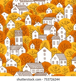 Trees and houses seamless pattern. Autumn, fall city landscape. Can be printed and used as wrapping paper, wallpaper, textile, fabric etc.