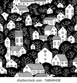 Trees and houses seamless pattern. City landscape. Can be printed and used as wrapping paper, wallpaper, textile, fabric etc.