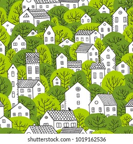 Trees and houses seamless pattern. Spring and summer city landscape. Can be printed and used as wrapping paper, wallpaper, textile, fabric etc.