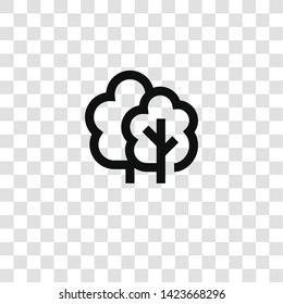 trees icon from miscellaneous collection for mobile concept and web apps icon. Transparent outline, thin line trees icon for website design and mobile, app development