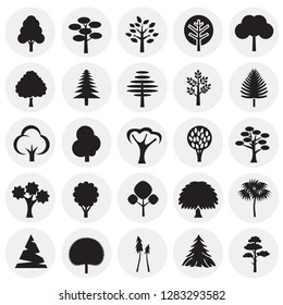 Trees icon set on circles background for graphic and web design, Modern simple vector sign. Internet concept. Trendy symbol for website design web button or mobile app