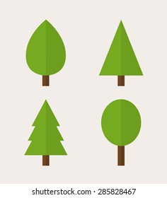Trees icons. Pines, firs and deciduous trees, modern minimal flat design style, vector illustration