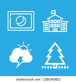 trees icons set with school building with flag, electric storm day weather symbol and astro photography vector set