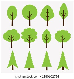 Trees illustrations. Simple icons of green plants