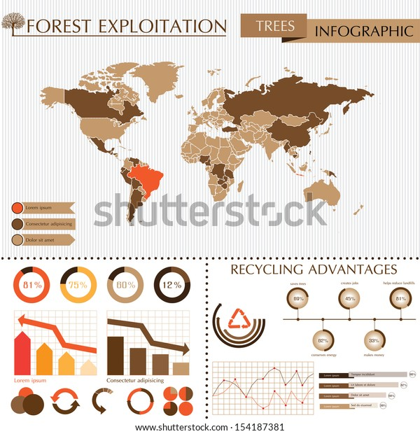 Trees Info Graphic System World Map Stock Vector Royalty Free