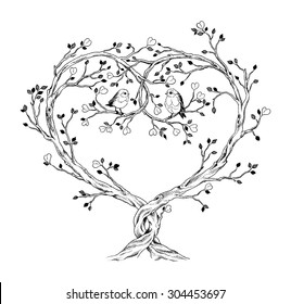 Trees intertwined in heart shape with birds, hand-drawn illustration in vintage style.