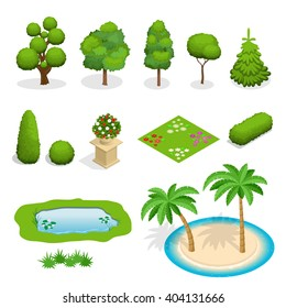 Trees isometric, flat, isolated. Flowers, grass, big and small trees, leakage, bush, landscape, palm, garden, park, elements. Tree branch with green leaves over white background.