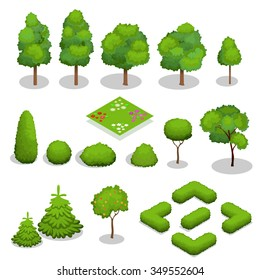 Trees isometric. Flowers, grass, big and small trees, leakage, bush, landscape, garden, park, elements.