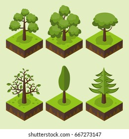 Trees isometric. Grass, big and small trees, garden, park, elements for isometric landscape