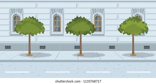Trees in line on urban street. Growing trees near city road. Megapolis concept. Vector illustration can be used for topics like environment, downtown, ecology