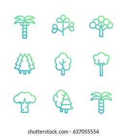 Trees linear icons