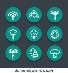 Trees linear round icons set