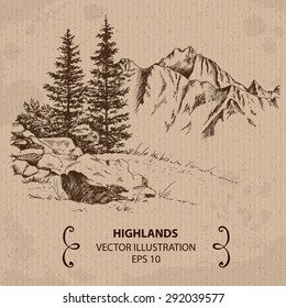 Trees and Mountains. Hand drawn Vector Illustration
